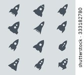 rocket icon and silhouette... | Shutterstock .eps vector #333182780