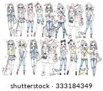 girls illustration set | Shutterstock .eps vector #333184349