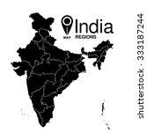regions map of india. republic... | Shutterstock .eps vector #333187244