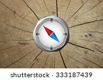 compass with red and blue arrow
