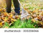 Gardener raking fall leaves in garden - stock photo