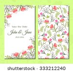 cute vintage floral cards set.... | Shutterstock .eps vector #333212240
