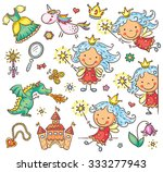 little cartoon fairy set with a ... | Shutterstock .eps vector #333277943