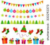 vector christmas elements set | Shutterstock .eps vector #333292373