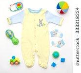 top view of baby boy yellow... | Shutterstock . vector #333318224