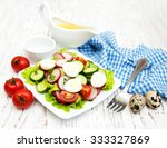 spring salad with eggs ... | Shutterstock . vector #333327869