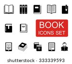 set of black isolated book... | Shutterstock . vector #333339593
