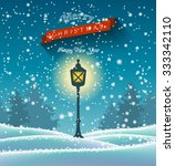 shining vintage lamp in winter... | Shutterstock .eps vector #333342110