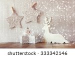Image Of White Wooden Reindeer...