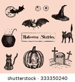 halloween sketches | Shutterstock .eps vector #333350240