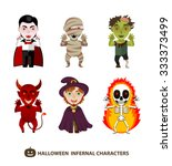 set of 6 infernal characters... | Shutterstock .eps vector #333373499