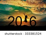 silhouette young woman jumping... | Shutterstock . vector #333381524