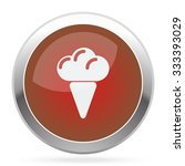 white ice cream icon on red web ...   Shutterstock .eps vector #333393029