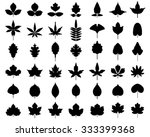 Black Silhouettes Of Leaves Of...