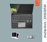 black modern laptop  photo and... | Shutterstock .eps vector #333428534