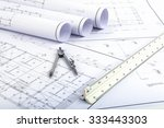 compasses and architect scale... | Shutterstock . vector #333443303