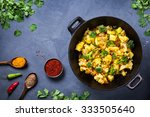 indian aloo gobi dish with... | Shutterstock . vector #333505640