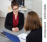 young woman in a job interview... | Shutterstock . vector #333513686