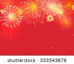 Golden Fireworks On Red...
