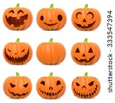 set of funny halloween pumpkins ... | Shutterstock . vector #333547394