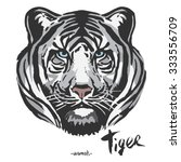 white tiger head  | Shutterstock .eps vector #333556709