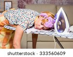 woman tired ironed clothes and... | Shutterstock . vector #333560609