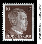 Small photo of GERMAN REICH - CIRCA 1942: A stamp printed in Germany shows the image of Adolf Hitler, series 1942