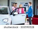 cheerful family in car
