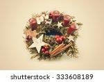 vintage christmas wreath | Shutterstock . vector #333608189