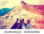 tourism in mountains. a couple... | Shutterstock . vector #333616466