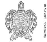 drawing zentangle turtle for... | Shutterstock .eps vector #333654710