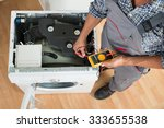 high angle view of technician... | Shutterstock . vector #333655538