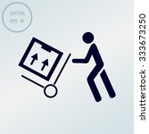 delivery man pushing a cargo... | Shutterstock .eps vector #333673250