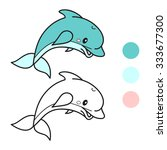dolphin. coloring book page.... | Shutterstock .eps vector #333677300