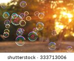 soap bubbles into the sunset... | Shutterstock . vector #333713006