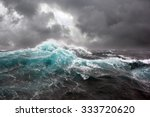 Sea Wave And Dark Clouds On...