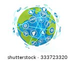 a globe is isolated on a white... | Shutterstock . vector #333723320