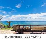 beach side cafe in okinawa ... | Shutterstock . vector #333742448