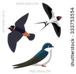 bird swallow set cartoon vector ... | Shutterstock .eps vector #333753554
