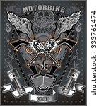 vintage motorcycle label | Shutterstock .eps vector #333761474