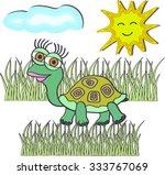 cute turtle illustration ... | Shutterstock . vector #333767069