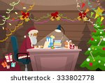 santa claus using laptop... | Shutterstock .eps vector #333802778