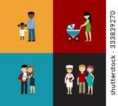 flat set of family life. vector ... | Shutterstock .eps vector #333839270