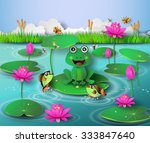 frog in the pond and the... | Shutterstock .eps vector #333847640