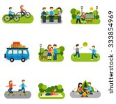 flat icon outing with people... | Shutterstock .eps vector #333854969