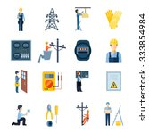 flat icons set of repairmen... | Shutterstock .eps vector #333854984
