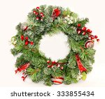 traditional christmas wreath... | Shutterstock . vector #333855434