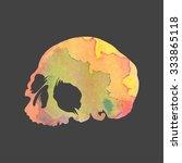 bright watercolor vector skull | Shutterstock .eps vector #333865118