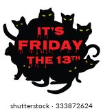 card for friday 13 with black... | Shutterstock .eps vector #333872624