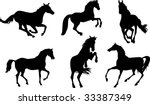 horses silhouettes set | Shutterstock .eps vector #33387349